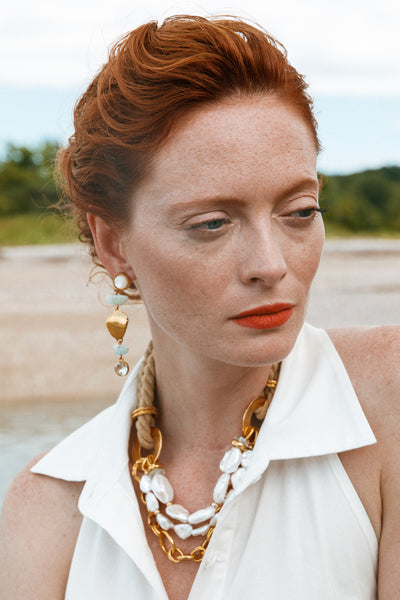 Thumbnail of model wearing the Sand Dollar Necklace. Buoy oh buoy! We are beyond beachy keen...