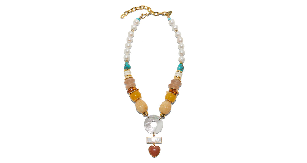 Full view of Capri Necklace In Magic Hour. Every season Lizzie designs one truly show-stoppi...