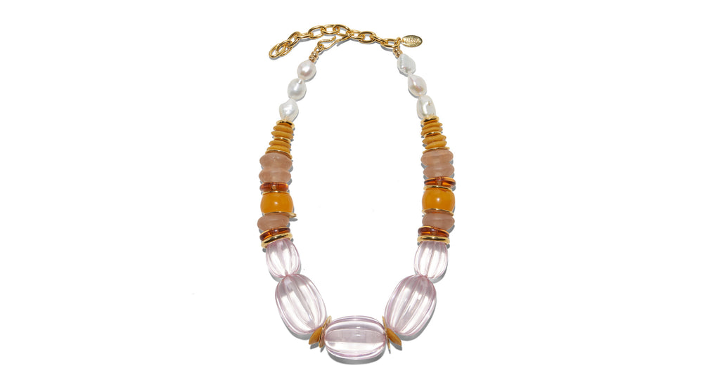 Full view of Villa Necklace In Rose. Make a statement in our boldly feminine 'magic hour...