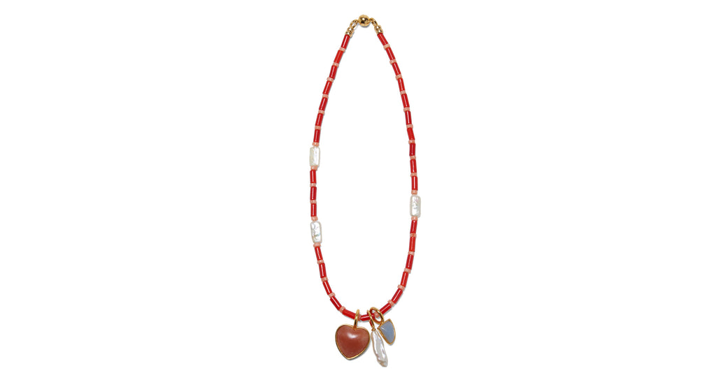 Full view of Catalina Necklace In Red. Introducing the Catalina, a silhouette inspired by la...
