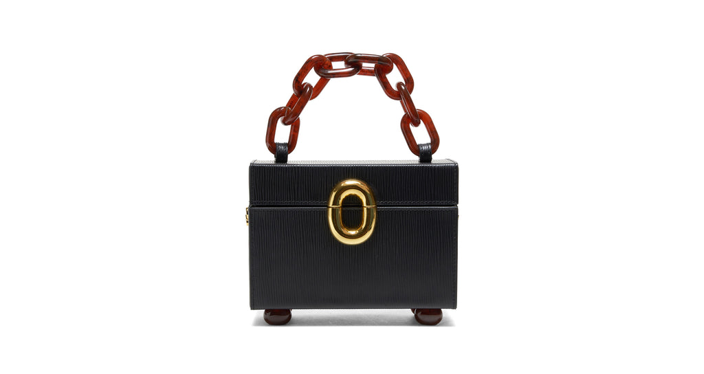 Full view of Cinema Box Bag In Onyx. Combining the nostalgic silhouette of classic travel tr...