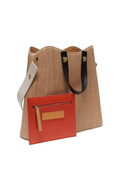 Thumbnail of Friday Shopper Tote In Woven Tan with zip pouch. You'll want to carry our tan w...