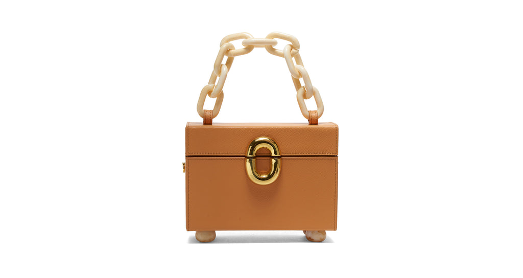 Full view of Cinema Box Bag In Butterscotch. Combining the nostalgic silhouette of classic t...