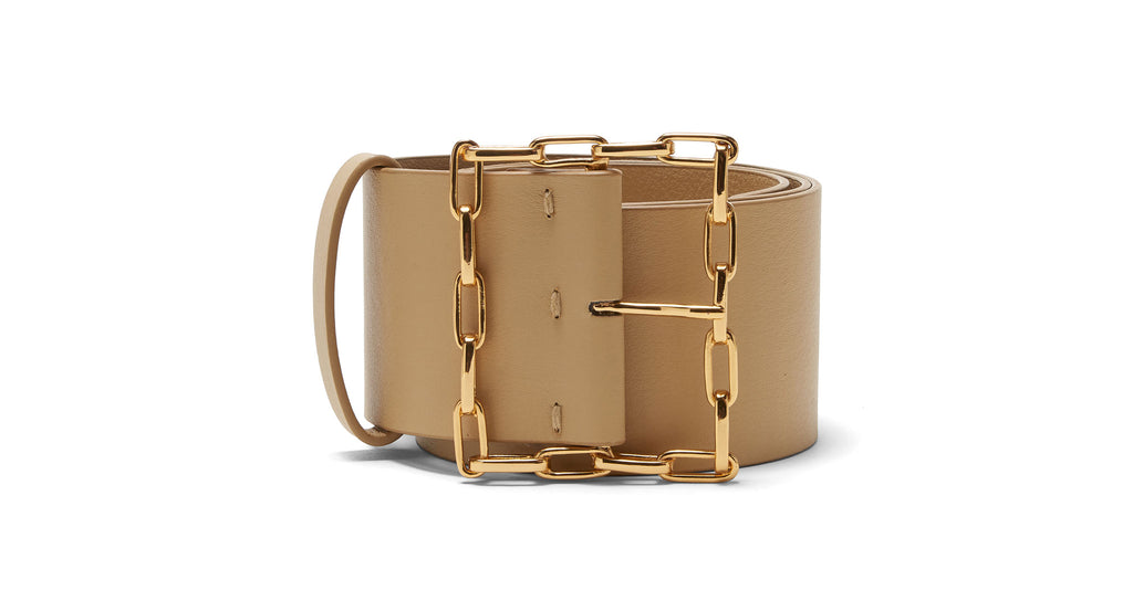 Full view of Geo Chain Belt In Tan. Get your accessories game truly linked in with our Geo b...