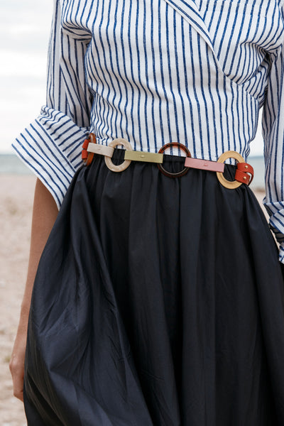 Thumbnail of model wearing the Rodeo Belt In Multicolor. Not your first rodeo? We didn't thi...