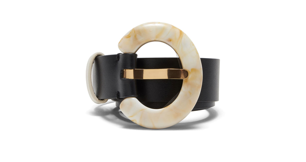 Full view of Sofia Belt In Black And Dune. Confidence comes from a chic, expertly-crafted ac...