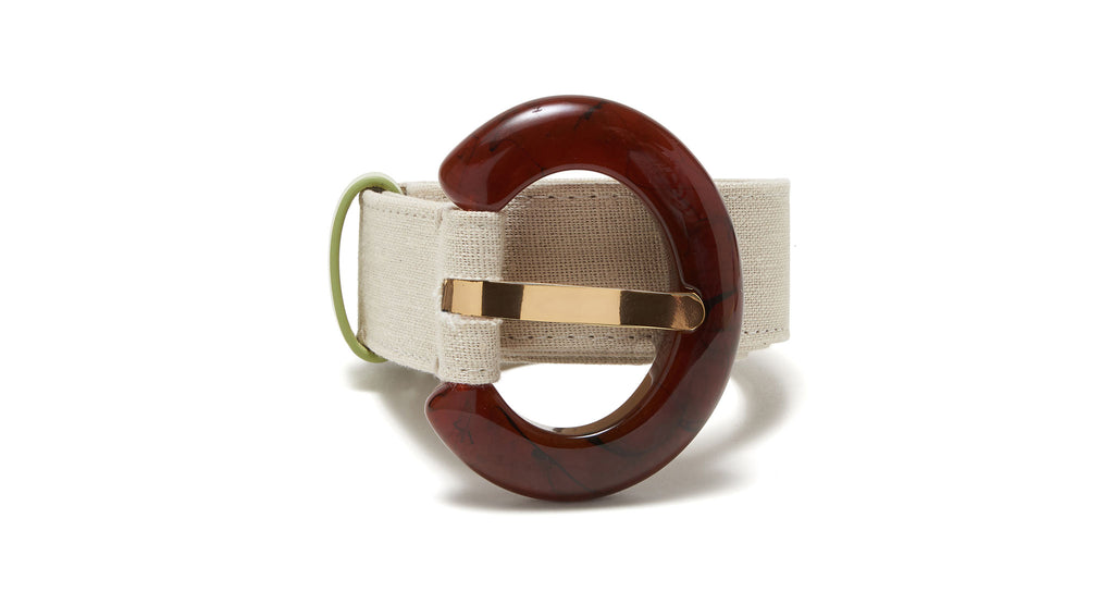 Full view of Sofia Belt In Cream Linen. Our new Sofia belt is breezily chic in rich cream li...