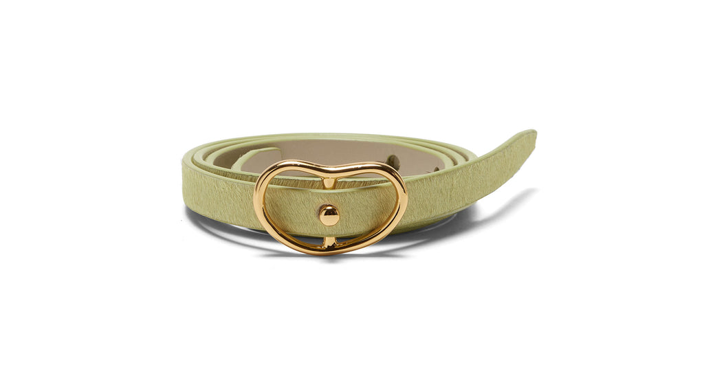 Full view of Skinny Georgia Belt In Pistachio. We're truly nuts for our always-essential...