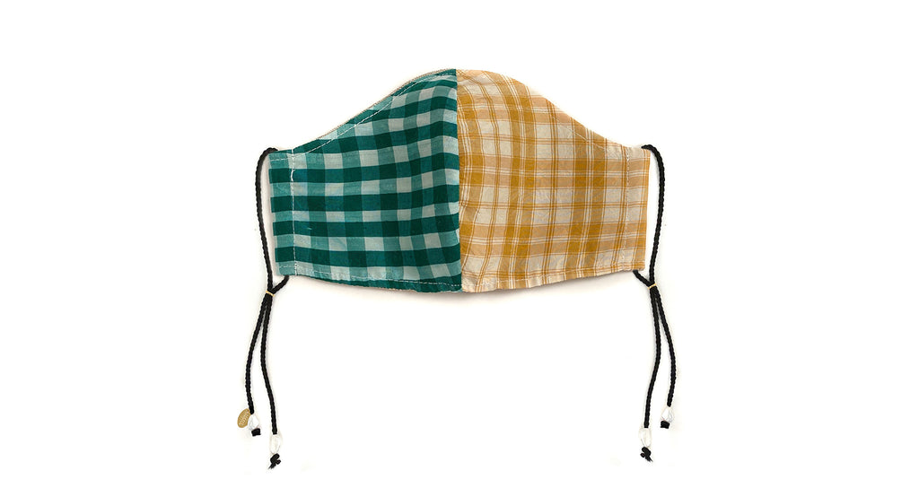 Face Mask In Picnic. Face mask featuring green and white gingham and yellow and white plaid ...