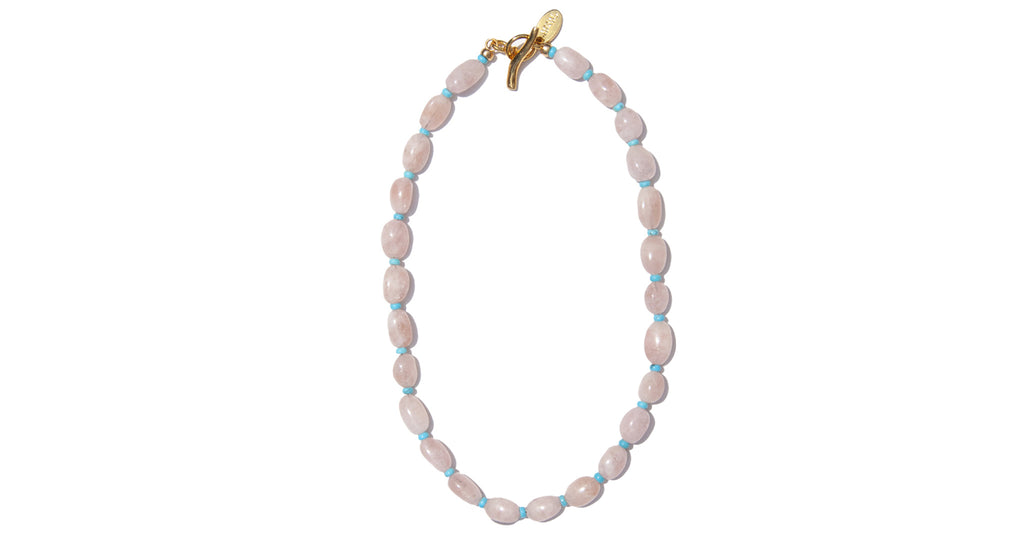 The Big Love Necklace is a single strand made with natural pink morganite stone and turquois...