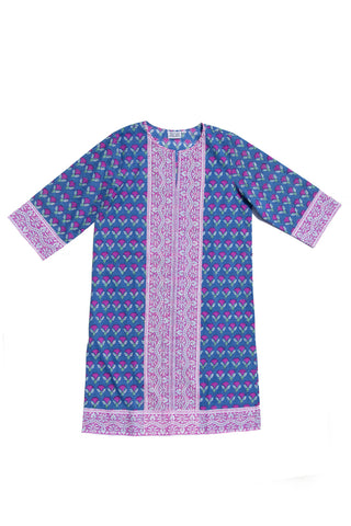 Long Kurta in Rose and Blue Waterlily
