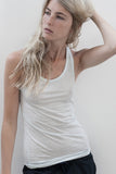 the white briefs women's singlet in lightweight 100% organic pima cotton
