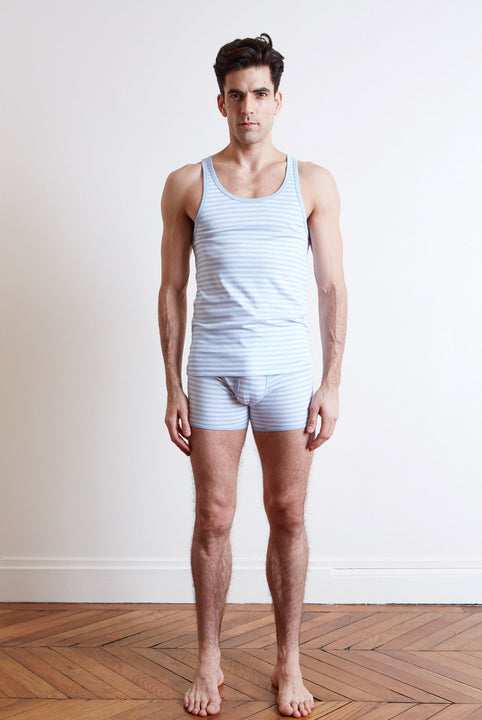the white briefs light blue white stripe cotton singlet