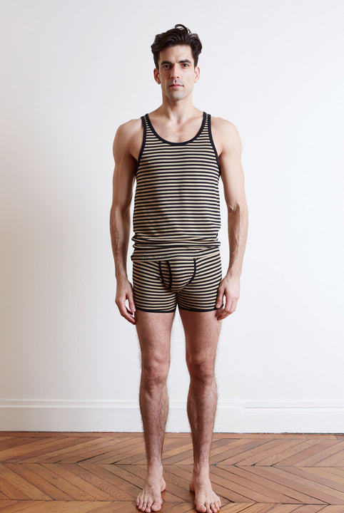 the white briefs stripe singlet with regular fit in 100% organic pima cotton