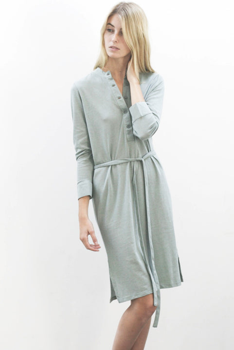the white briefs shirt dress with chinoise collar in wool/cotton crepe