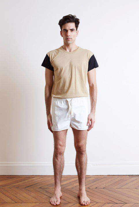 the white briefs camel black cotton t-shirt
