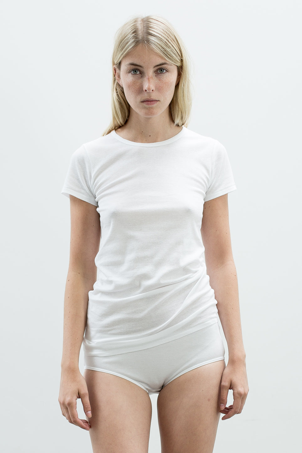 White slim fit short sleeve classic t-shirt made from 100% organic pima cotton