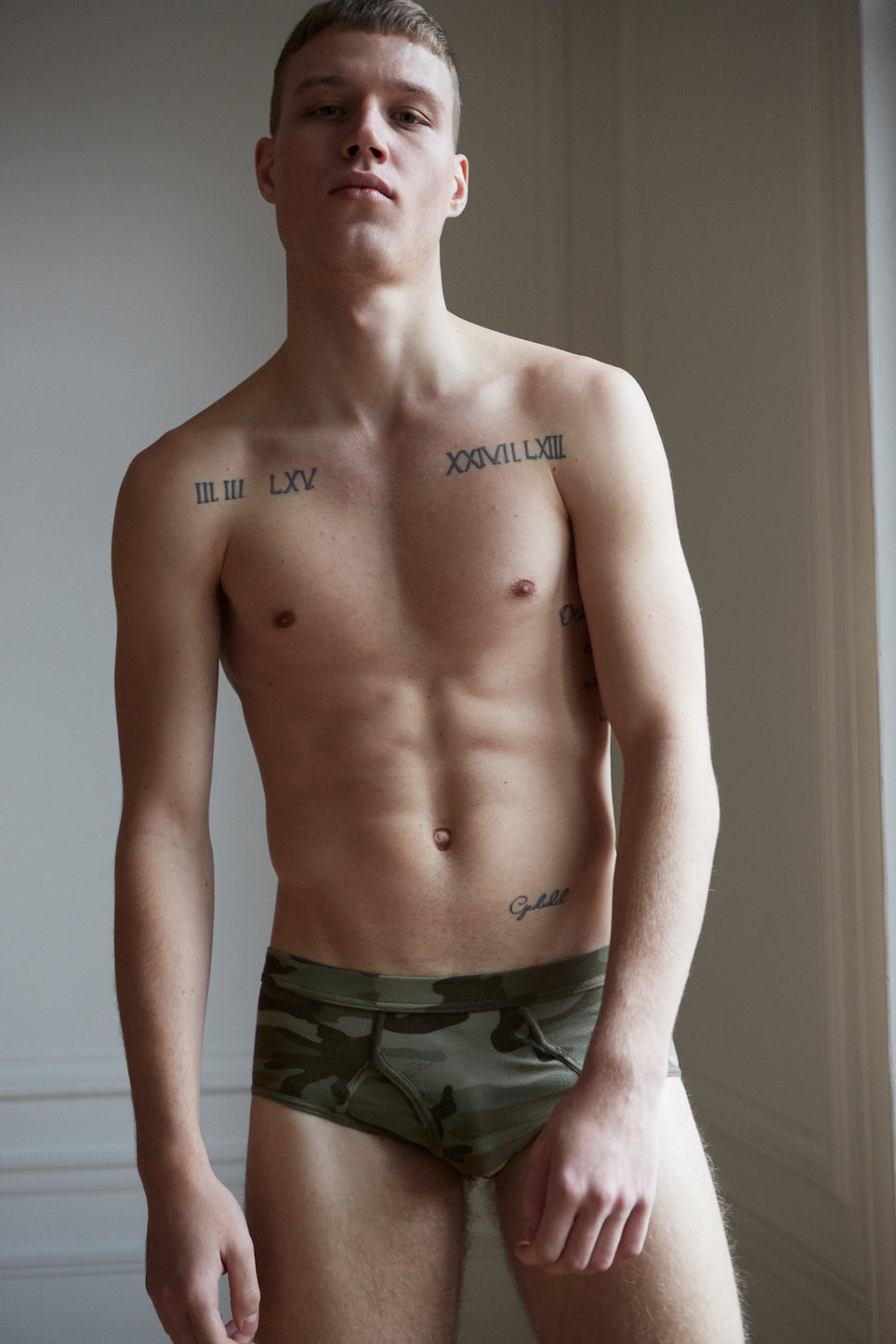 Khaki camouflage men's organic cotton underwear classic briefs