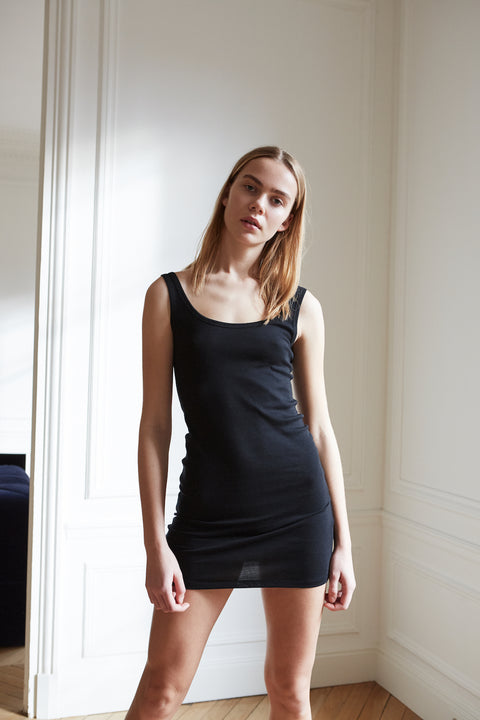 Long length black organic cotton singlet with a slim fit for women by The White Briefs