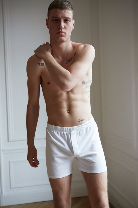 White men's organic cotton Henner boxer shorts
