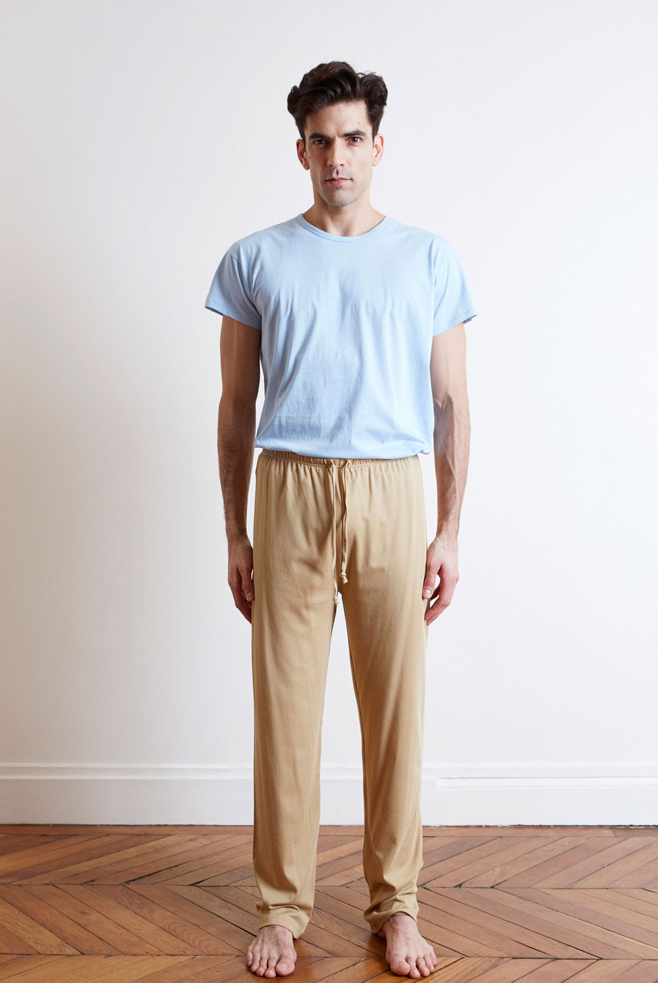 Organic pima cotton tan men's trackpants