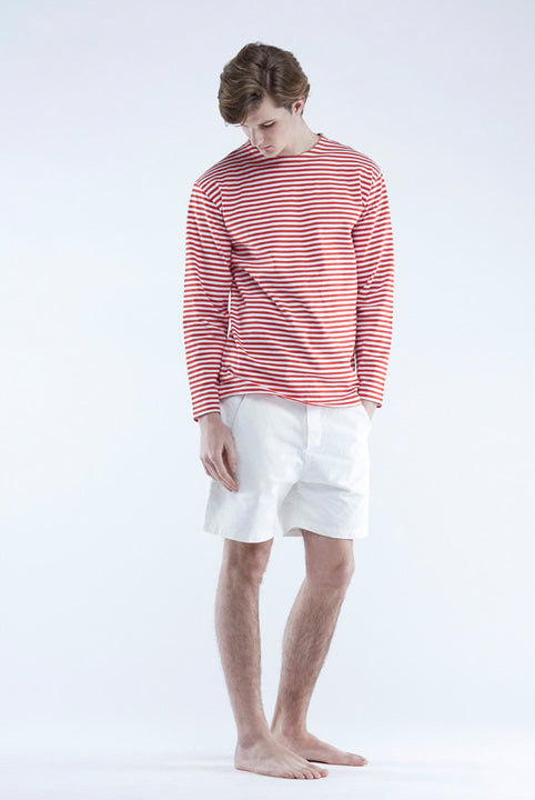 the white briefs striped sweater in 100% organic cotton