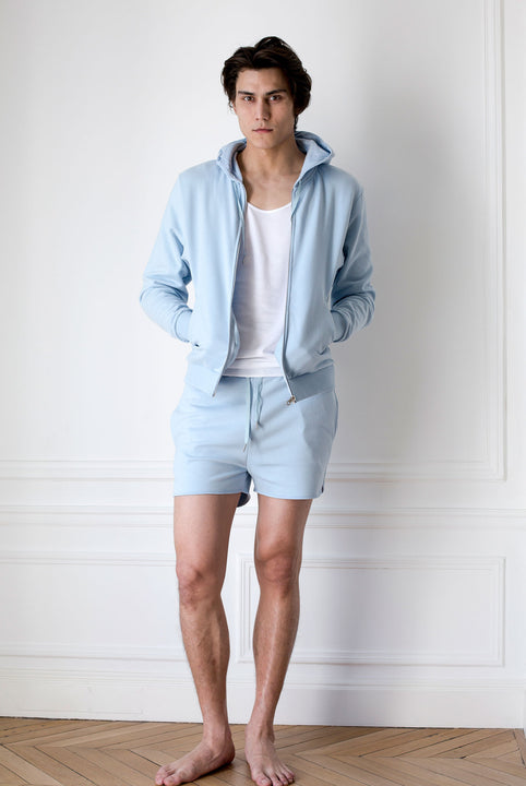 the white briefs hood jacket in organic cotton fleece