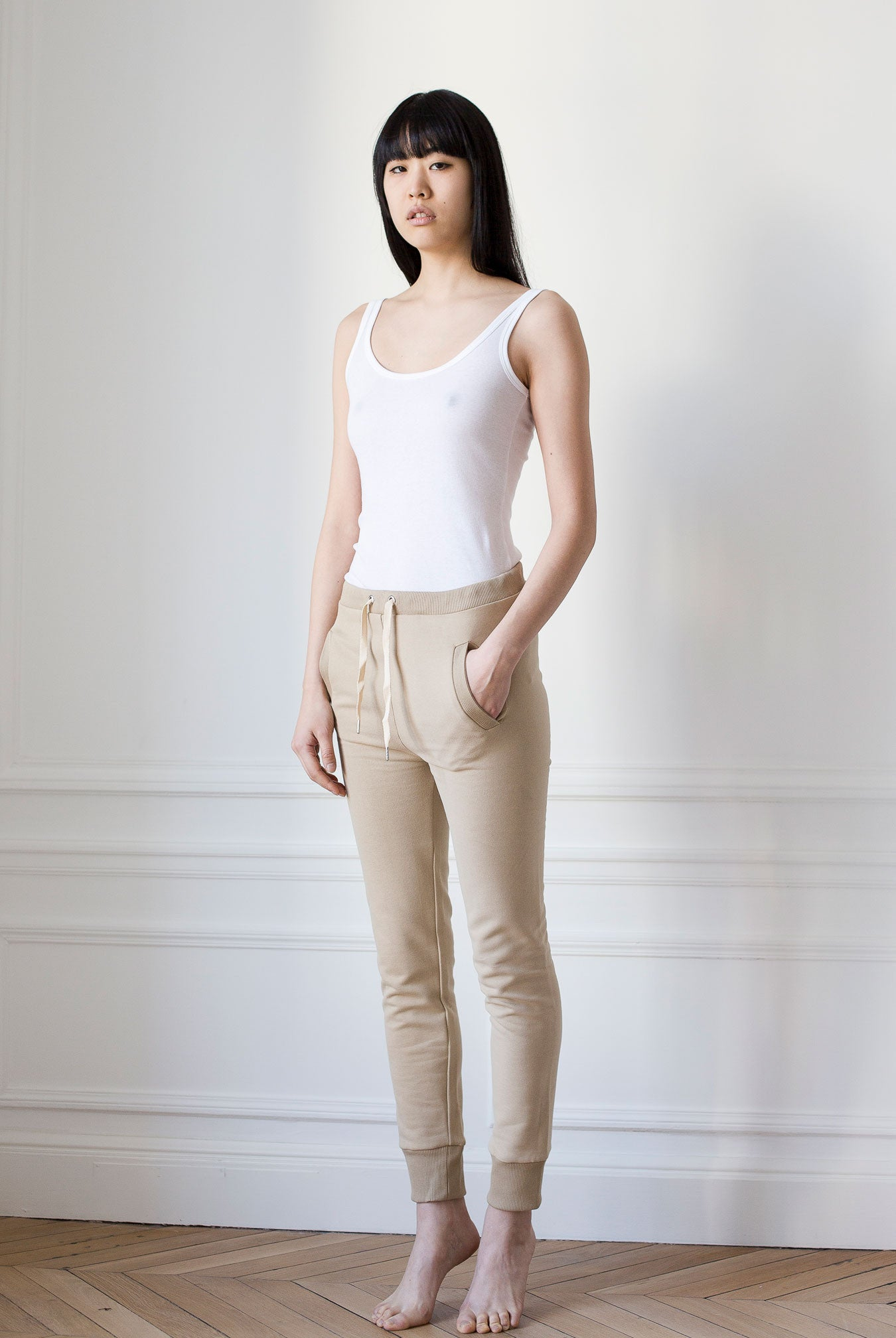 the white briefs camel cotton pants