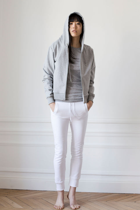 the white briefs hooded jacket made in the softest sanforized organic cotton fleece