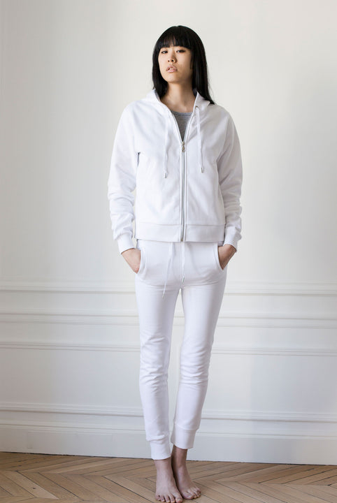the white briefs fitted drawstring pant made from the softest sanforized cotton fleece
