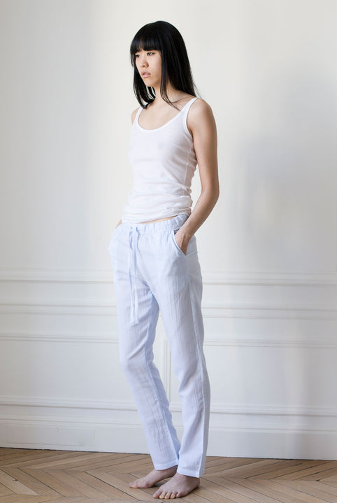 the white briefs pants made in a sheer cotton crepe