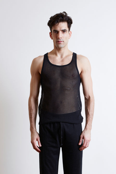 Black men's mesh singlet in collaboration with Fantastic Man