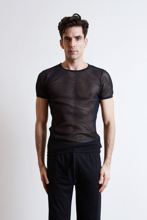 Men's black mesh t-shirt in collaboration with Fantastic Man