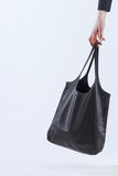 Unisex leather carry all black bag