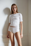 High waisted women's underwear in white made from sustainable organic cotton