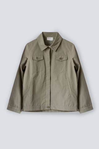 Utility style women's jacket in khaki made from organic linen cotton blend by The White Briefs