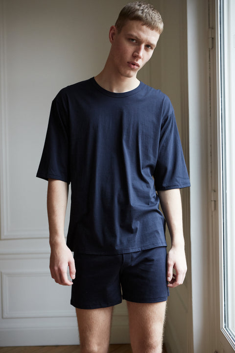 Men's Sunrise navy oversized organic cotton t-shirt