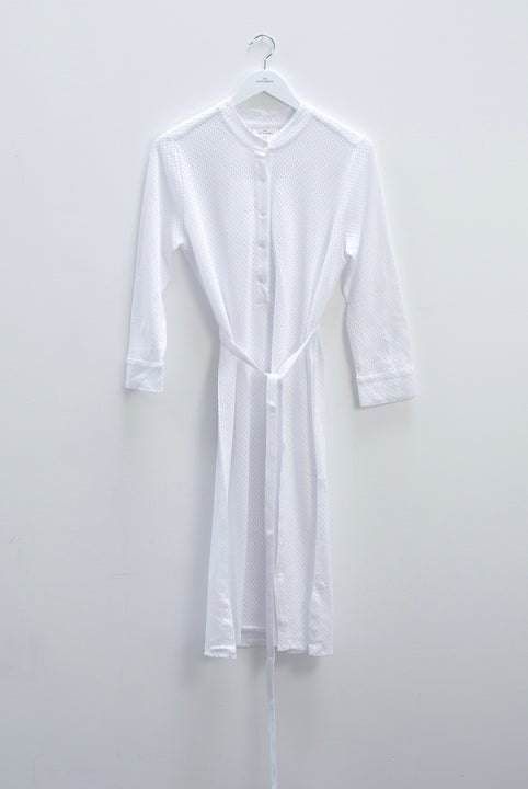 the white briefs airy women's shirt dress with chinoise collar made in 100% cotton mesh