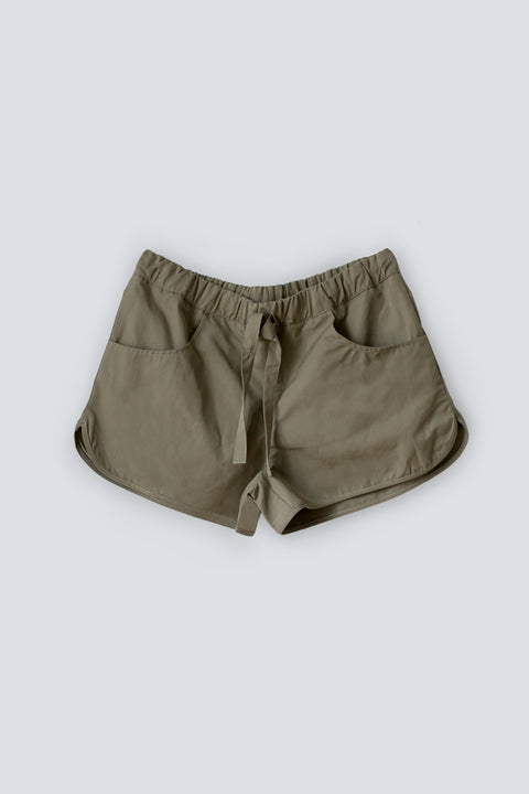 Durable khaki summer shorts for women made from organic linen cotton blend