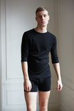 Men's 3/4 sleeve 100% organic cotton black Anchovy t-shirt