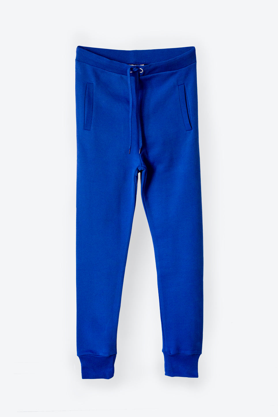 Blue fitted 100% organic cotton terry trackpants for women with drawstring waist and side stripe