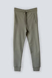 Khaki fitted 100% organic cotton terry trackpants for women with drawstring waist and side stripe