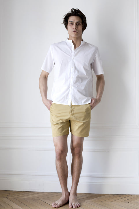 the white briefs twill shorts in a sturdy woven cotton fabric