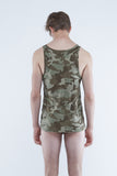 100% organic cotton men's camouflague printed singlet by Nick Wooster