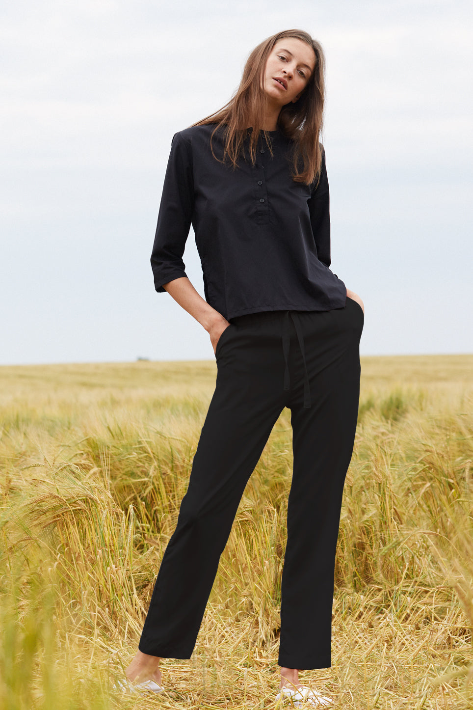 Straight leg 100% organic cotton women's black trousers from The White Briefs' SS18 collection