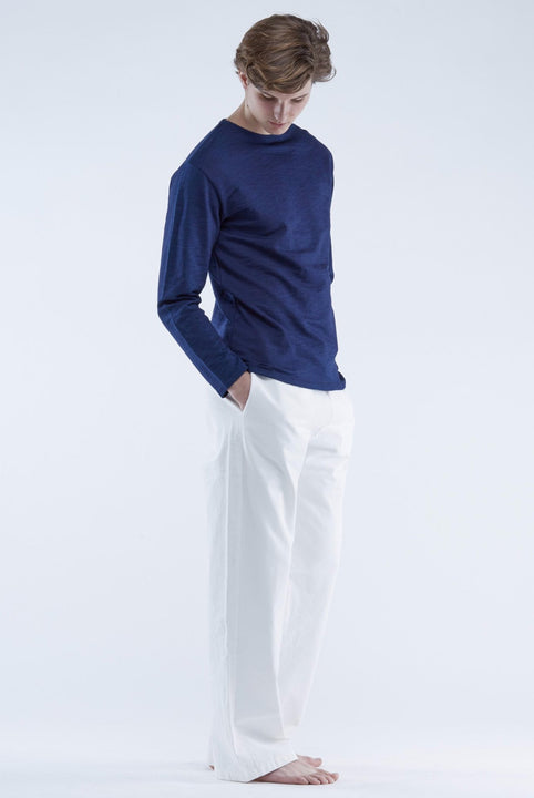 The White Briefs  sweater with a three button closure in 100% organic cotton
