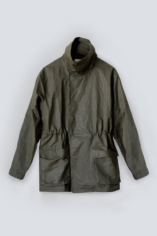 Waterproof utility jacket made from recycled sustainble fibres in an olive green