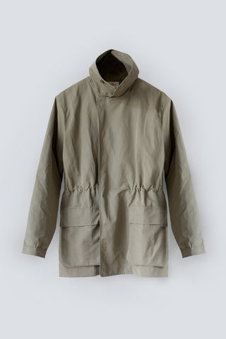 Water resistant khaki jacket made from sustainable organic cotton linen blend