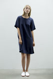 Relaxed fit lightweight women's summer knee-length dress made from navy tencel