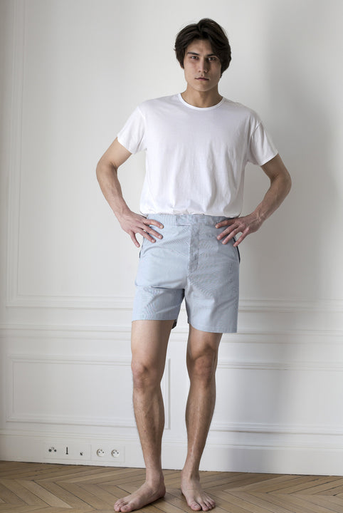 the white briefs shorts made in a woven blue white striped cotton fabric